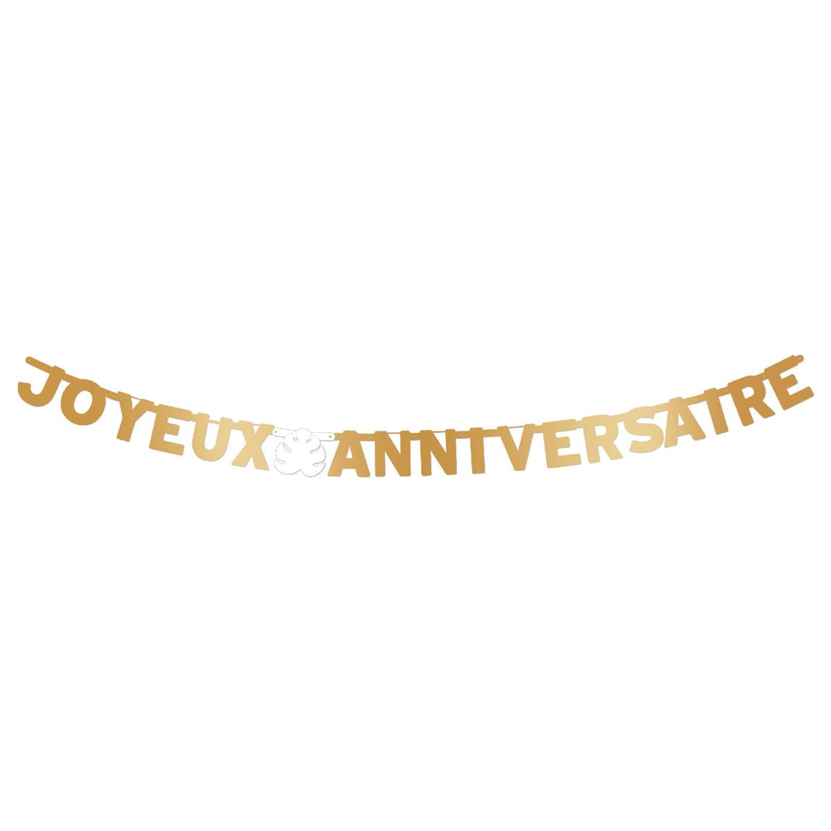 Guirlande \'Joyeux Anniversaire\' doré (tropical) - 3 m - [A2741]