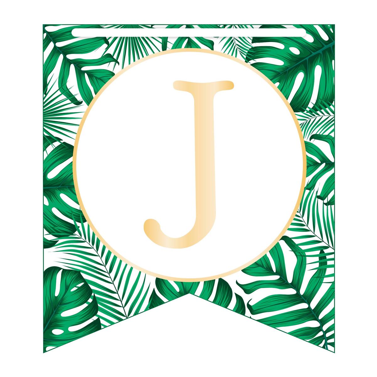 Guirlande \'Joyeux Anniversaire\' vert doré (tropical) - 5 m 19 fanions - [A2742]