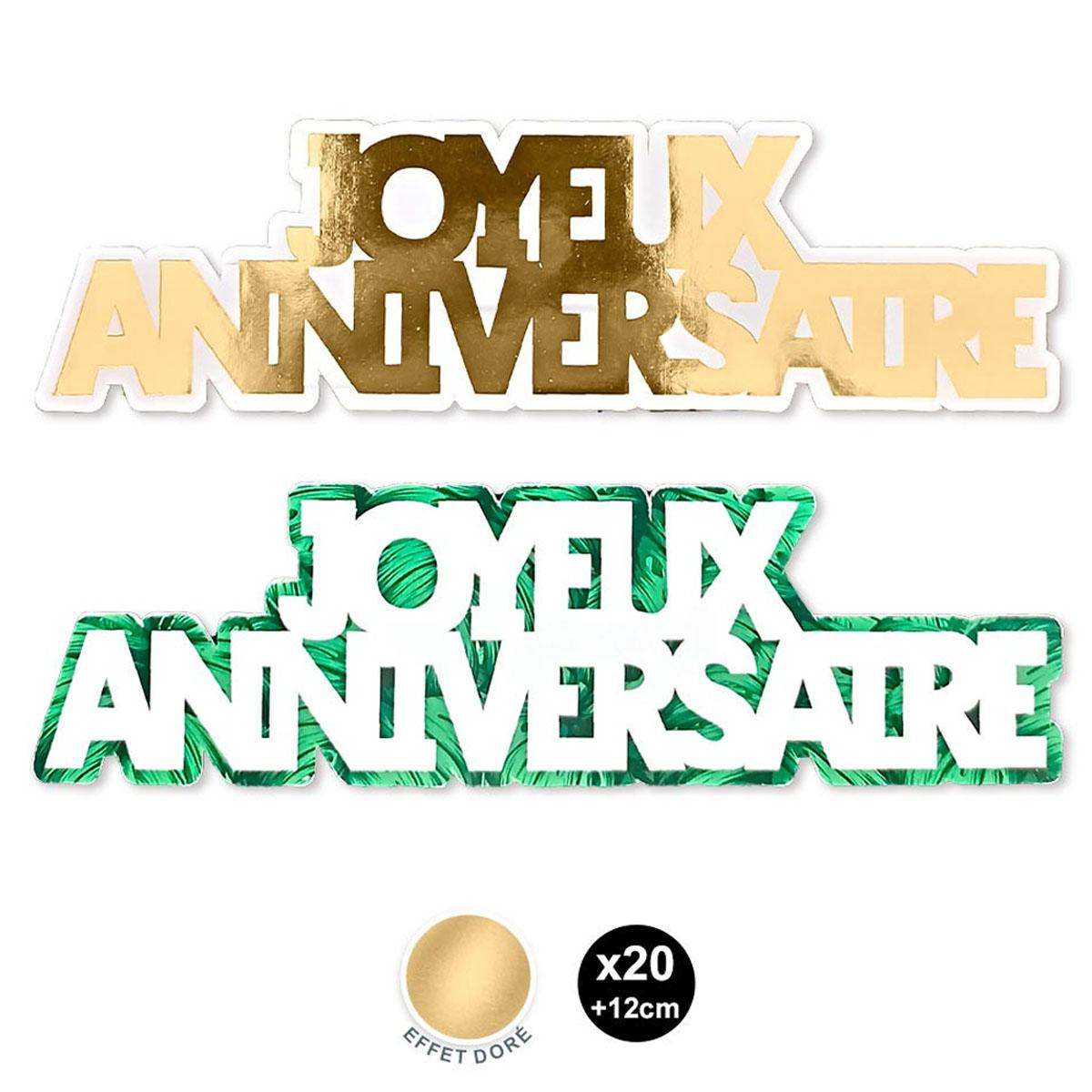 20 décors de table \'Joyeux Anniversaire\' vert doré (tropical) - 12 cm (20 pièces) - [A2744]