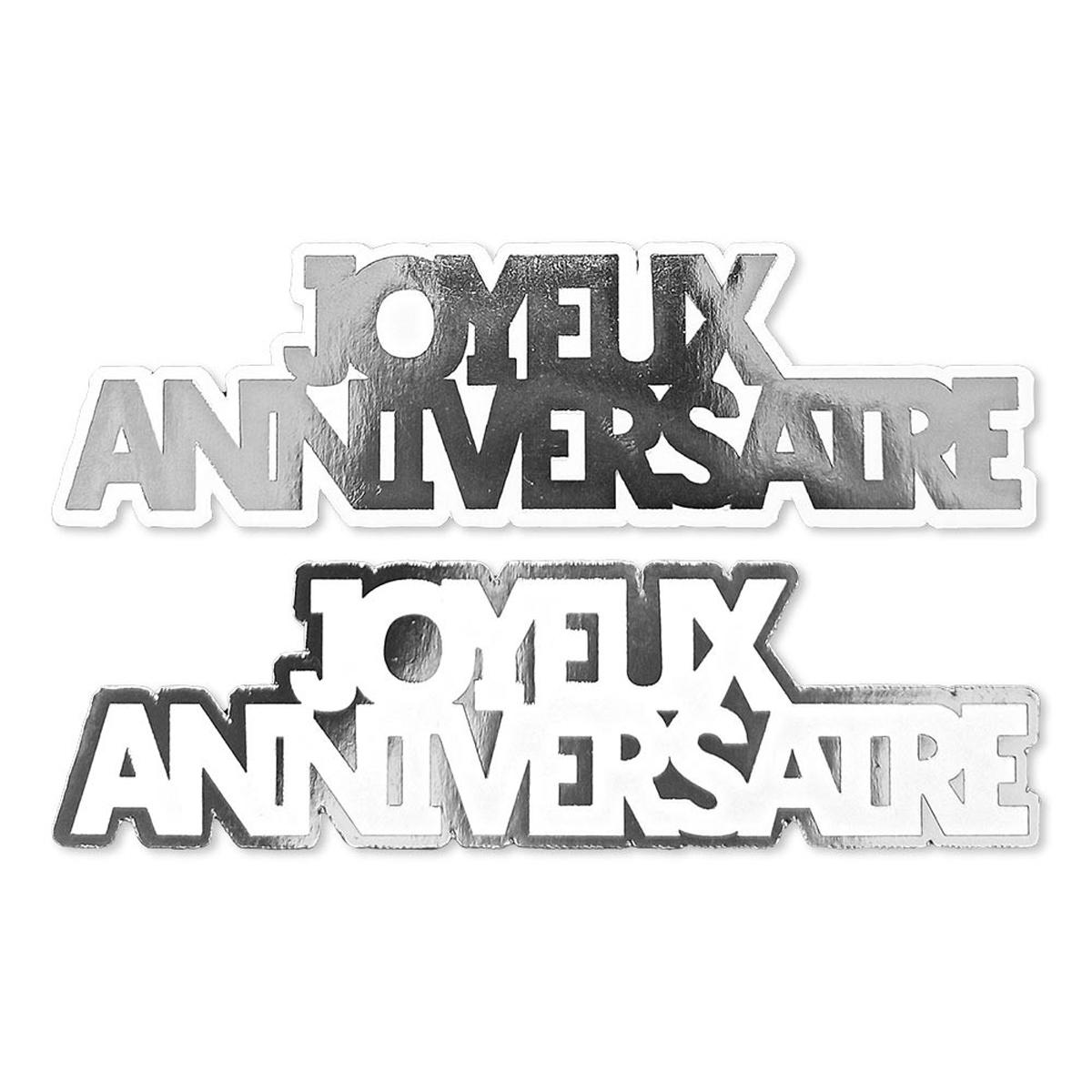 20 décors de table \'Joyeux Anniversaire\' argenté - 12 cm (20 pièces) - [A2745]