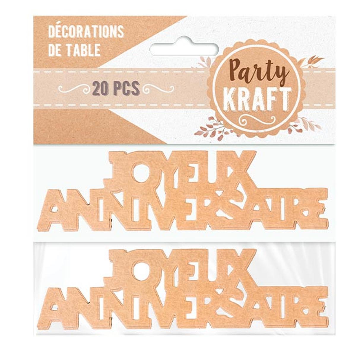 20 décors de table \'Joyeux Anniversaire\' beige (kraft) - 12 cm (20 pièces) - [A2747]