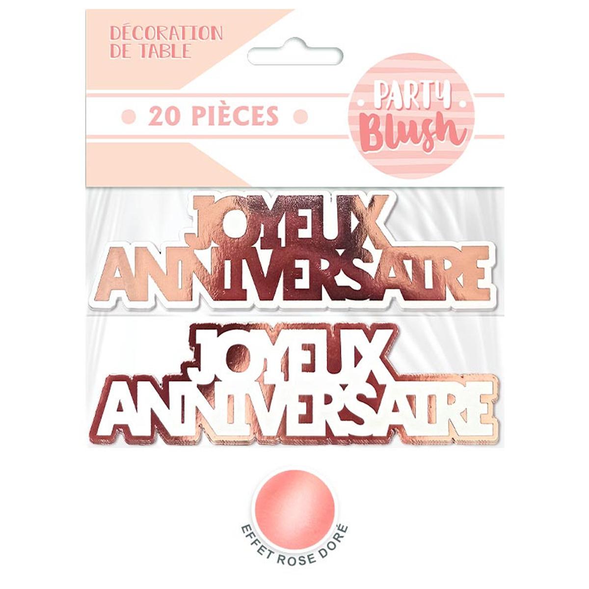 20 décors de table \'Joyeux Anniversaire\' rosé (blush) - 12 cm (20 pièces) - [A2748]