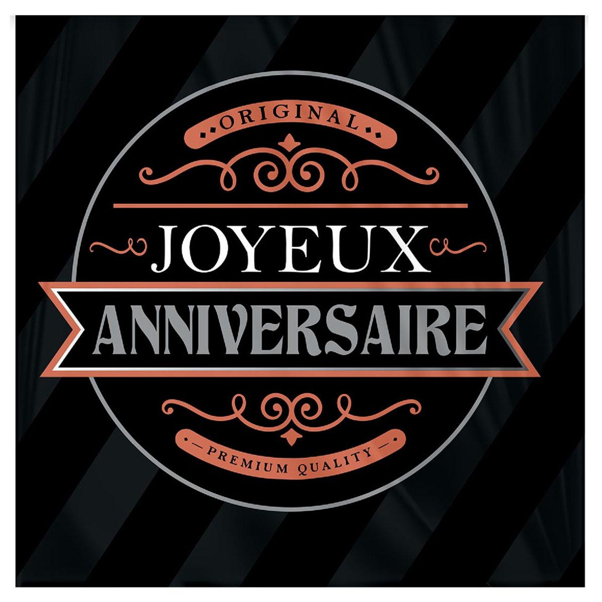 Pack de 12 serviettes en papier \'Joyeux Anniversaire\' noir (original) - 16x16 cm - [A2749]