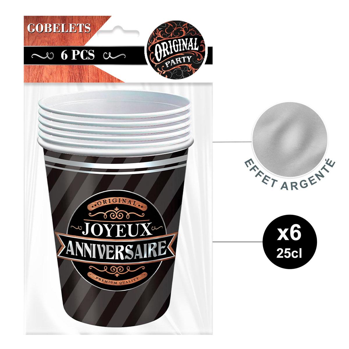 6 gobelets carton \'Joyeux Anniversaire\' noir (original) - 85x75 mm (25 cl) - [A2750]