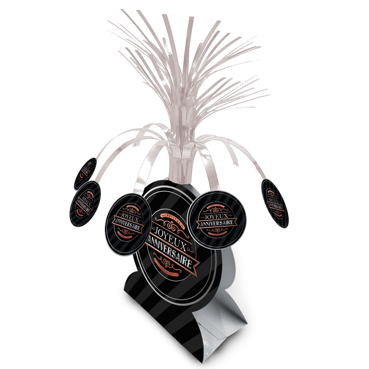 Centre de table \'Joyeux Anniversaire\' noir (original) - 26x30 cm - [A2751]