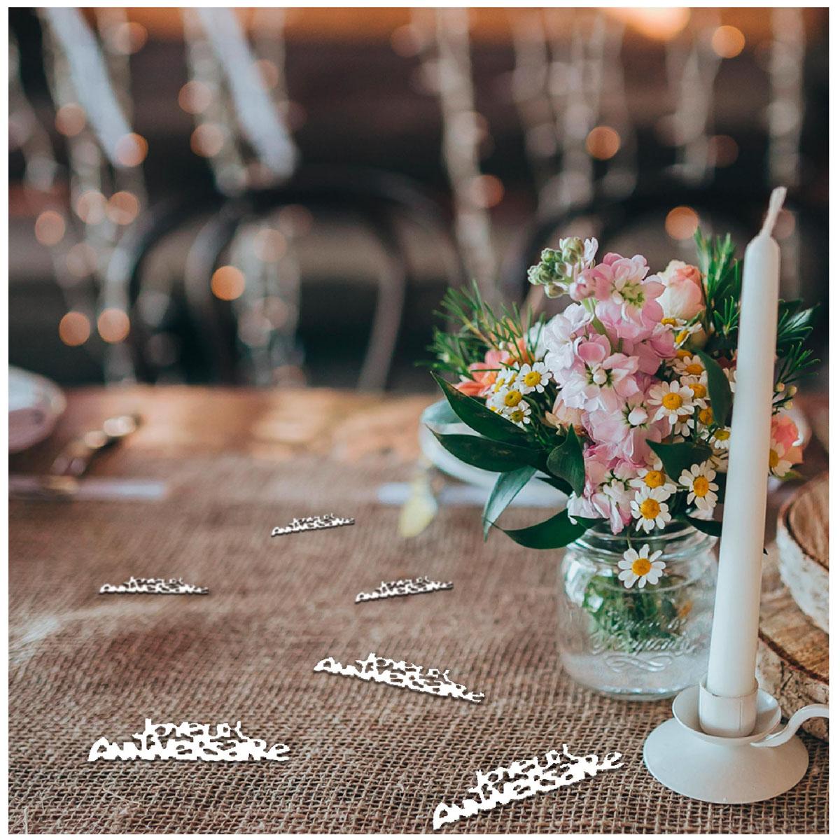 Sachet de confettis \'Joyeux Anniversaire\' blanc (kraft) - 15 g - [A2755]