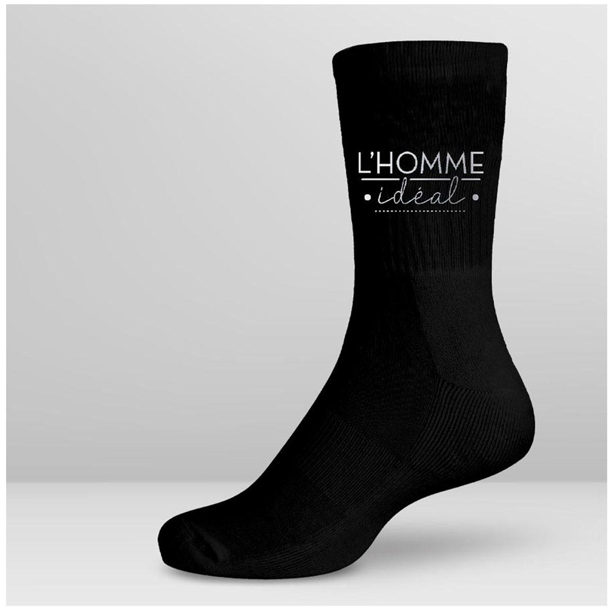 Chaussettes coton tendresse \'L\'Homme Idéal\' noir - taille unique - [A2761]