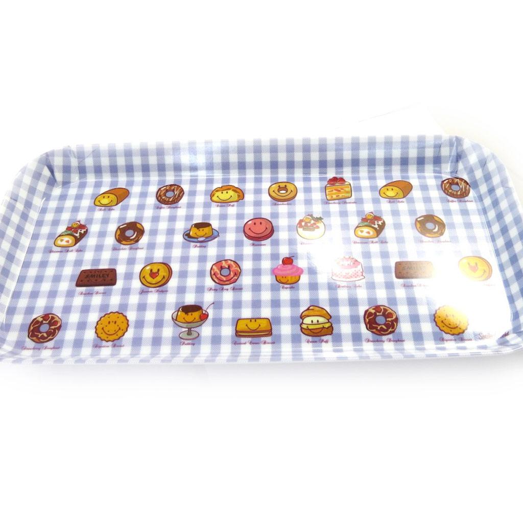 Plateau à cake \'Smiley\' bleu vichy - 31x15 cm - [L9081]