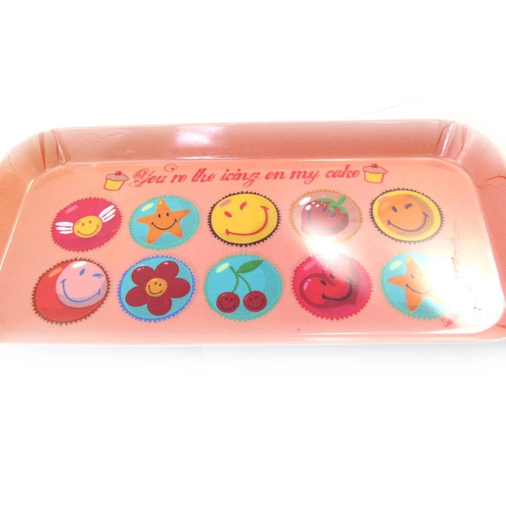 Plateau à cake \'Smiley\' pèche -31x15 cm - [L9082]