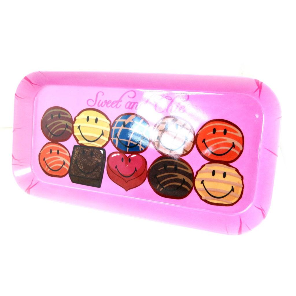 Plateau à cake \'Smiley\' rose - 31x15 cm - [L9083]