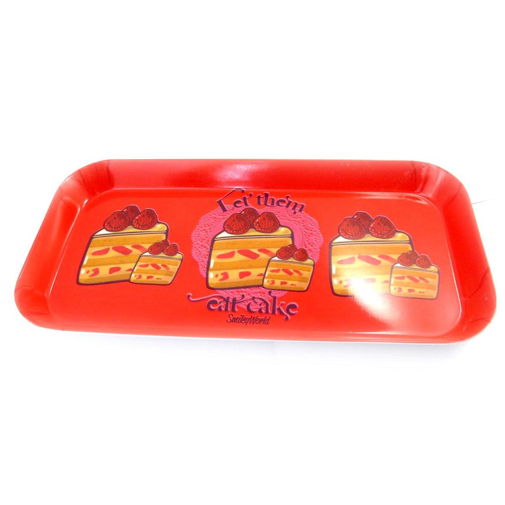 Plateau à cake \'Smiley\' rouge - 31x15 cm - [L9084]