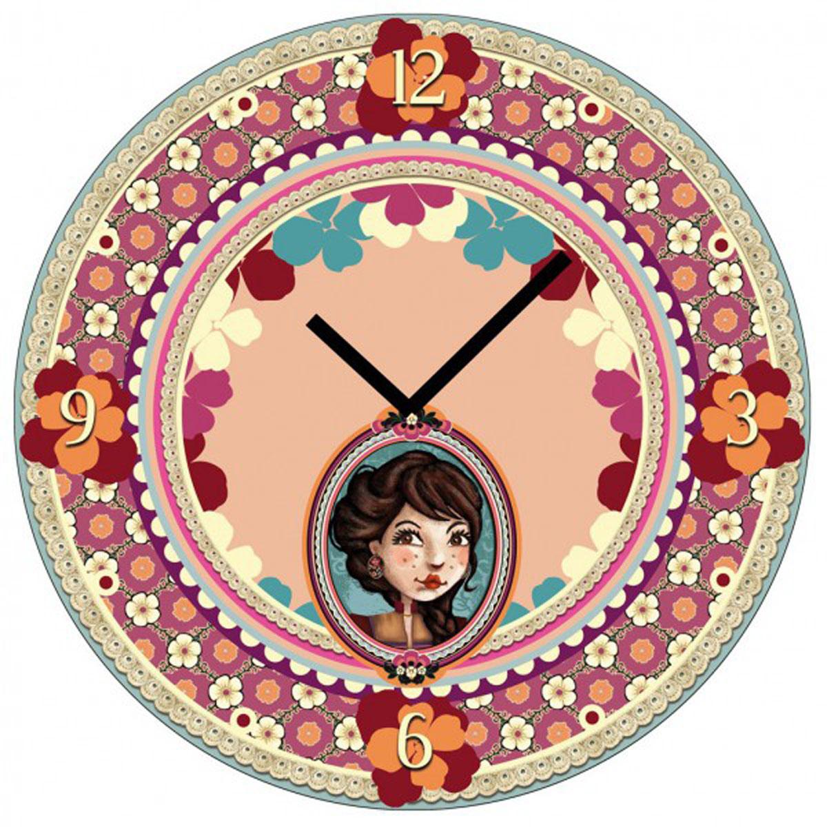 Horloge Murale verre \'Lili Petrol\' beige rose (Emily) - 30 cm - [M3369]