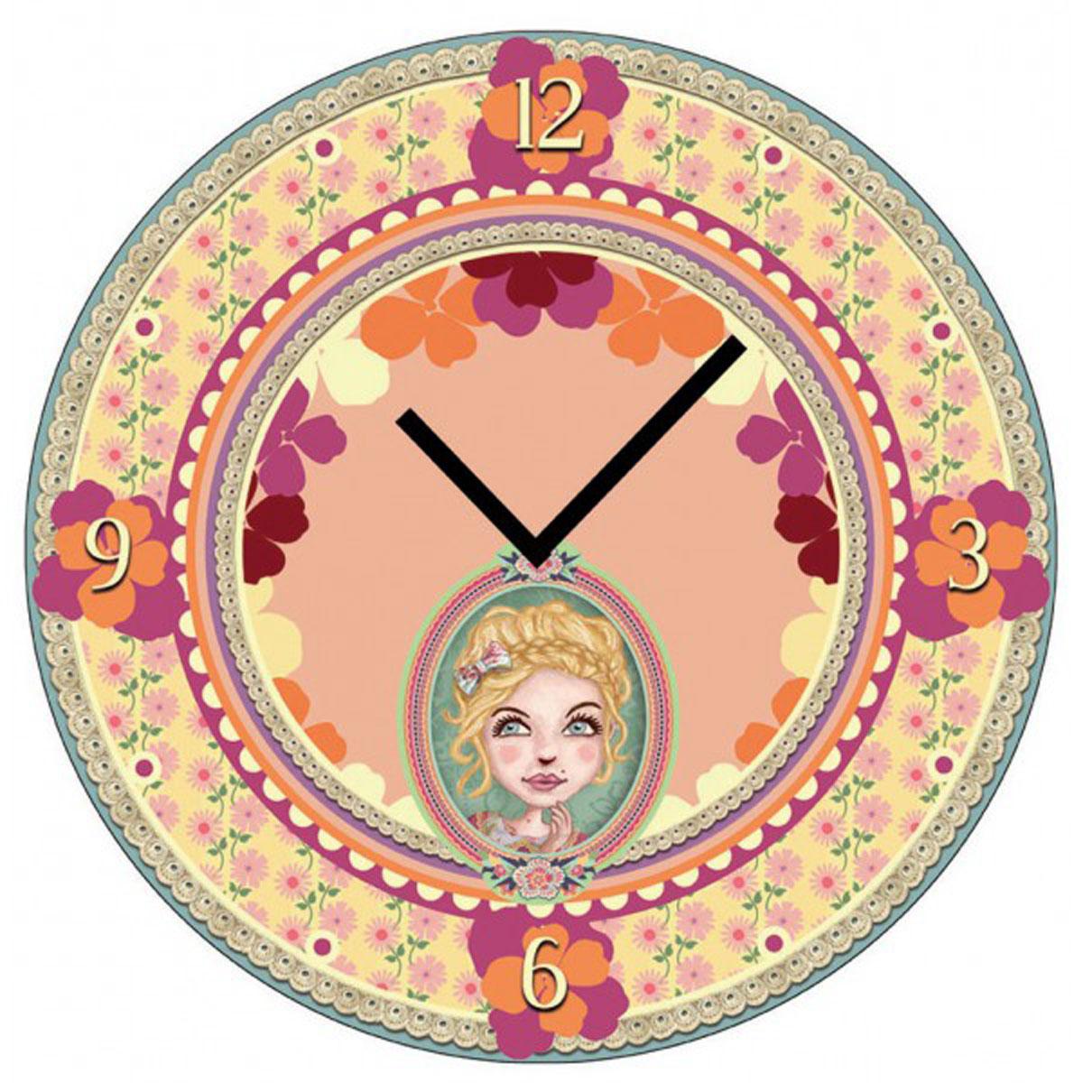 Horloge Murale verre \'Lili Petrol\' beige rose (Chloé) - 30 cm - [M3394]