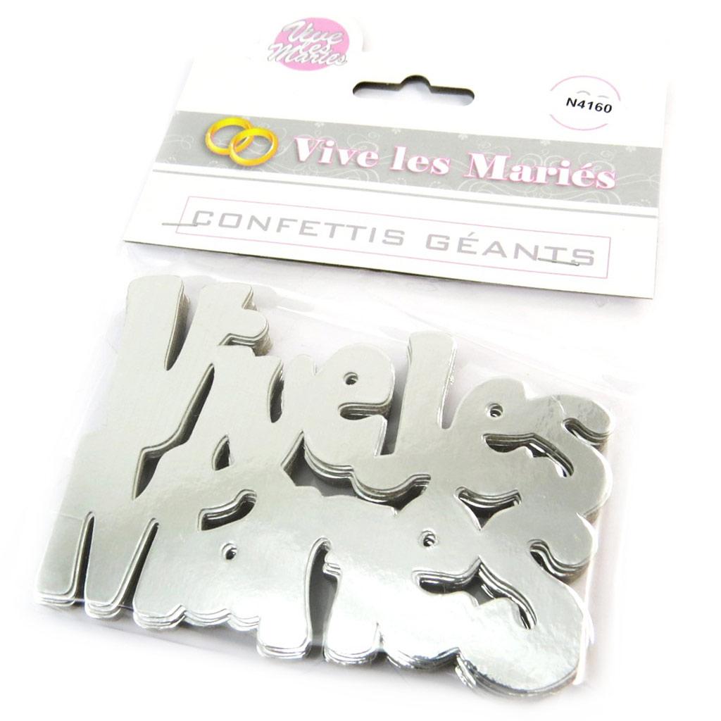 Confettis géants \'Vive les Mariés\' argenté - 12 cm (20 pièces) - [N4160]