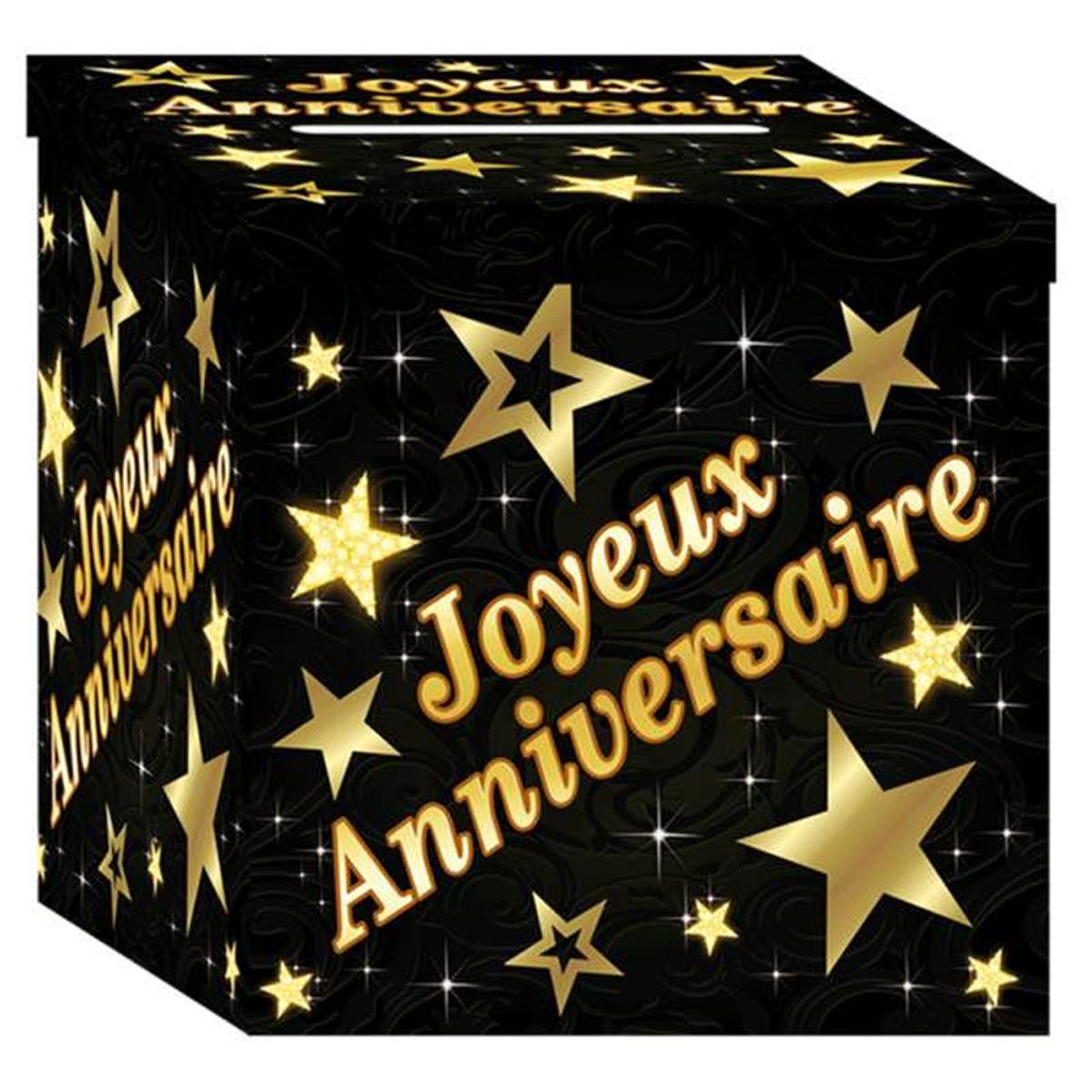 Urne \'Joyeux Anniversaire\' noir doré - 21x21x195 cm - [P2689]