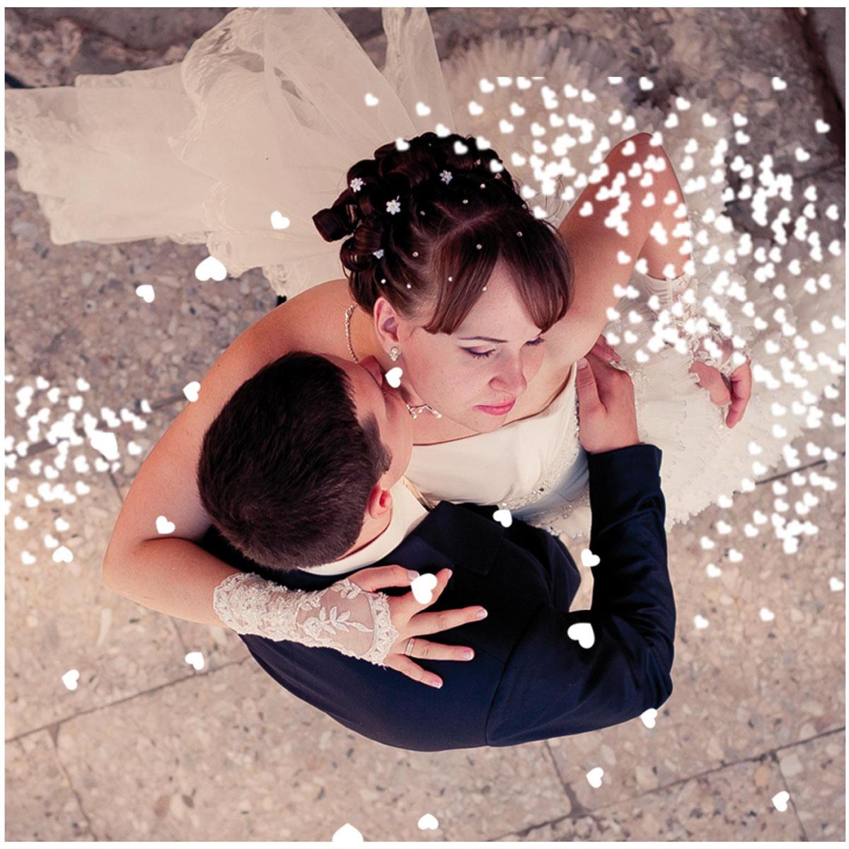 Boite de confettis \'Coeurs\' blanc  - [P2735]