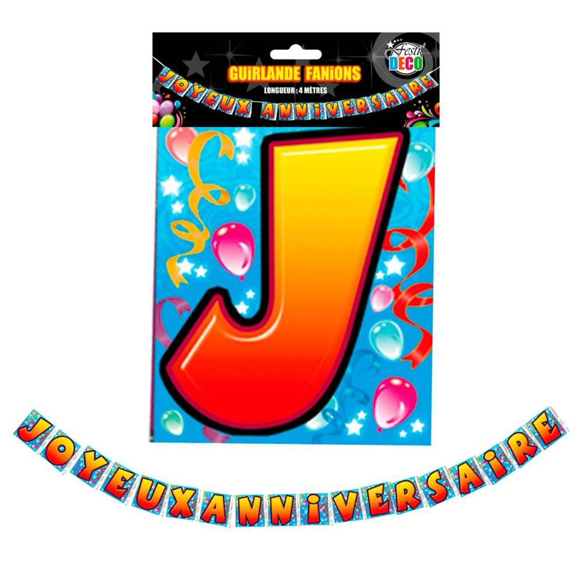 Guirlande \'Joyeux Anniversaire\' multicolore - 4 mx175 cm - [Q2843]