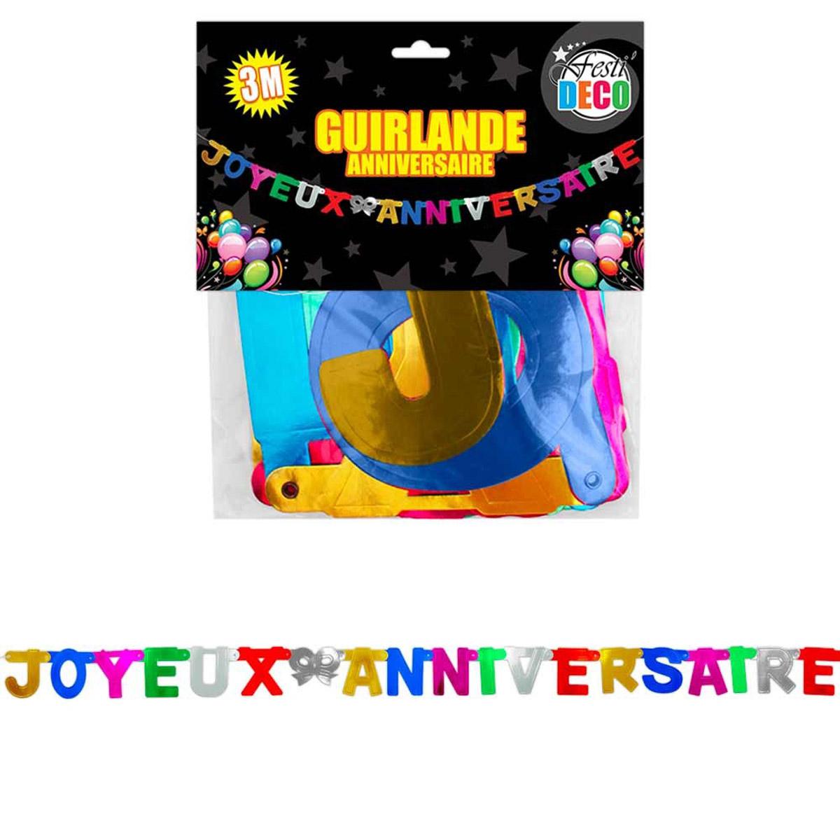 Banderole \'Joyeux Anniversaire\' tutti frutti - 3 m - [Q5136]