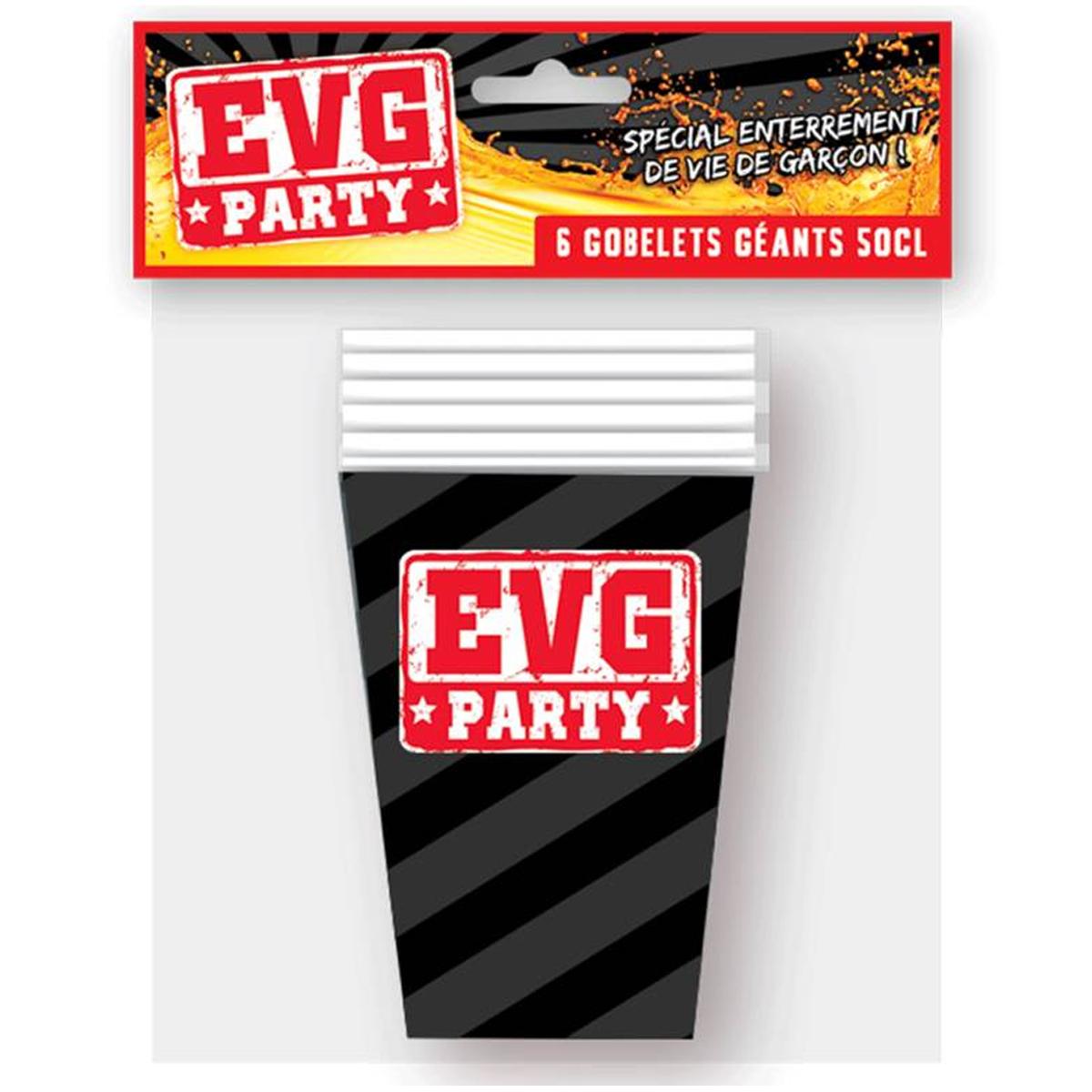 6 gobelets carton \'EVG\' gris rouge - 13x9 cm (50 cl) - [Q7172]