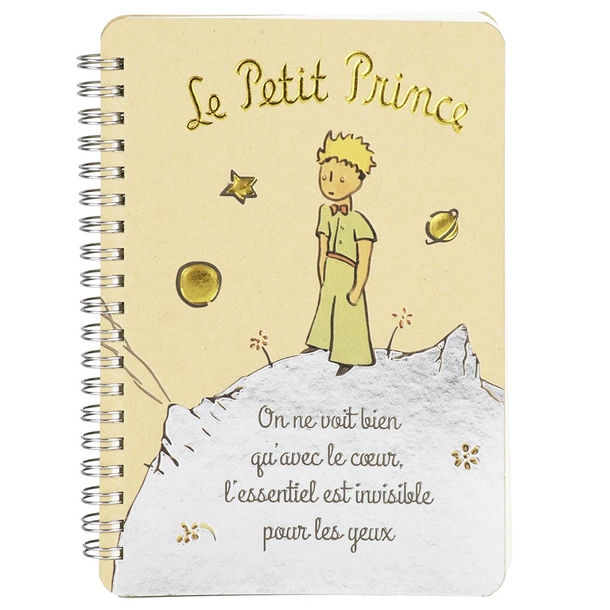 Carnet à spirale \'Le Petit Prince\' beige gris (nuit étoilée) - 18x13 cm - [Q8326]