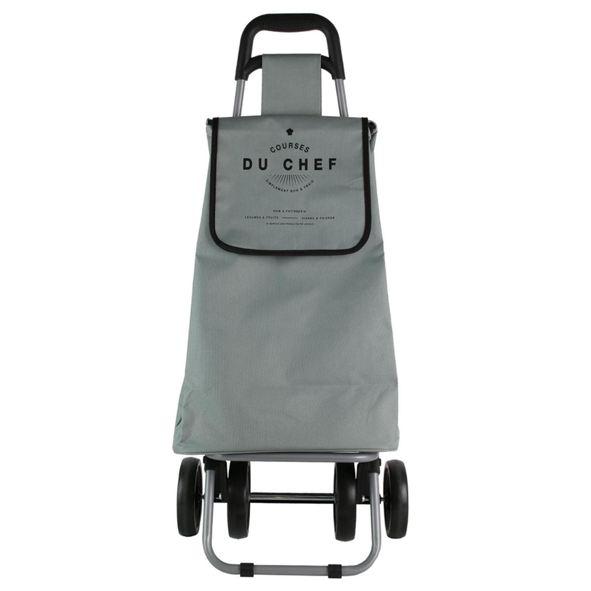 Caddy de course / Chariot shopping pliable \'Courses du Chef\' gris - 4 roues - [R0349]
