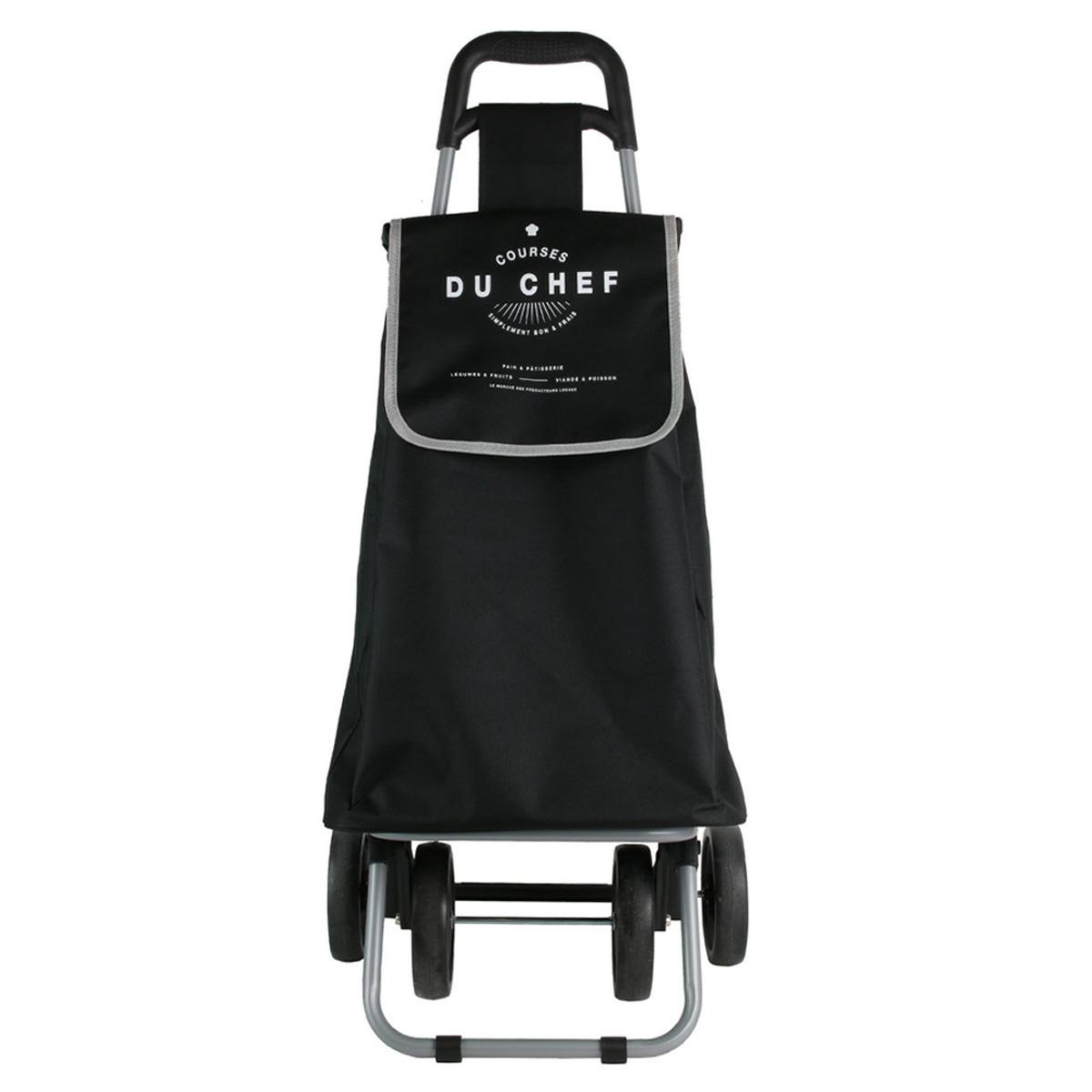 Caddy de course / Chariot shopping pliable \'Courses du Chef\' noir - 4 roues - [R0350]