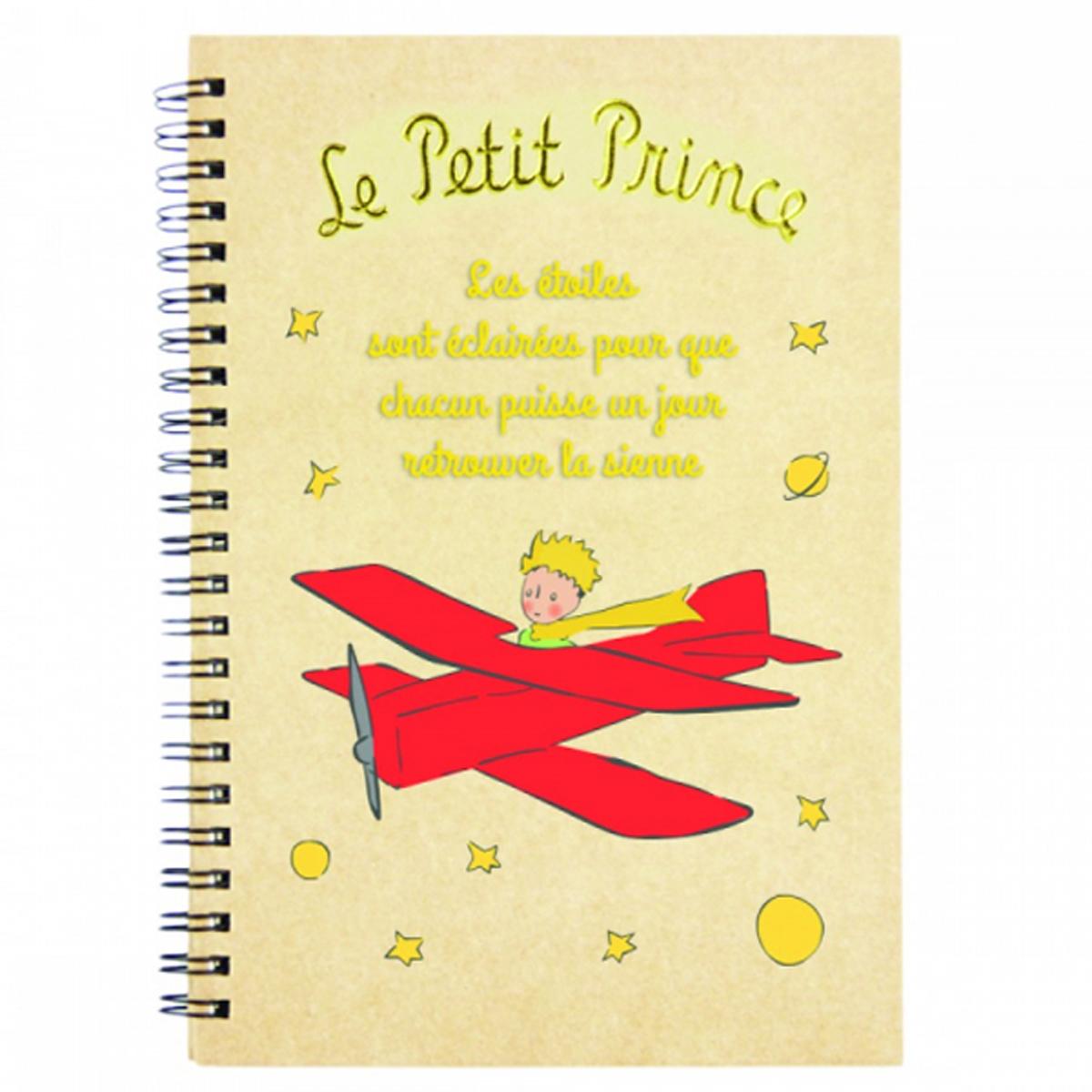 Carnet à spirale \'Le Petit Prince\' beige rouge (avion) - 18x13 cm - [R2004]