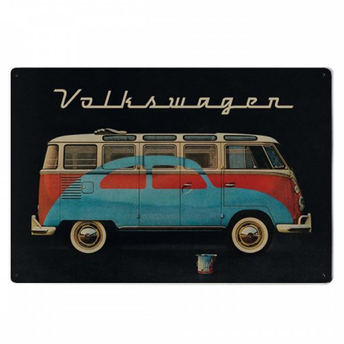 Plaque métal vintage \'Volkswagen\' noir multicolore (van) - 30x20 cm - [R2963]