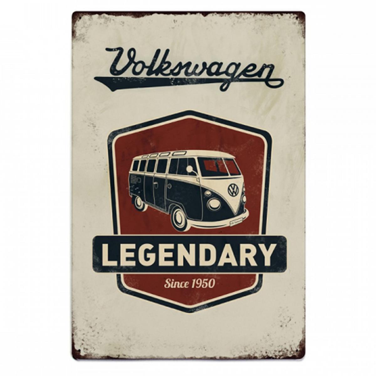 Plaque métal vintage \'Volkswagen\' rouge beige vintage (legendary) - 30x20 cm - [R2964]