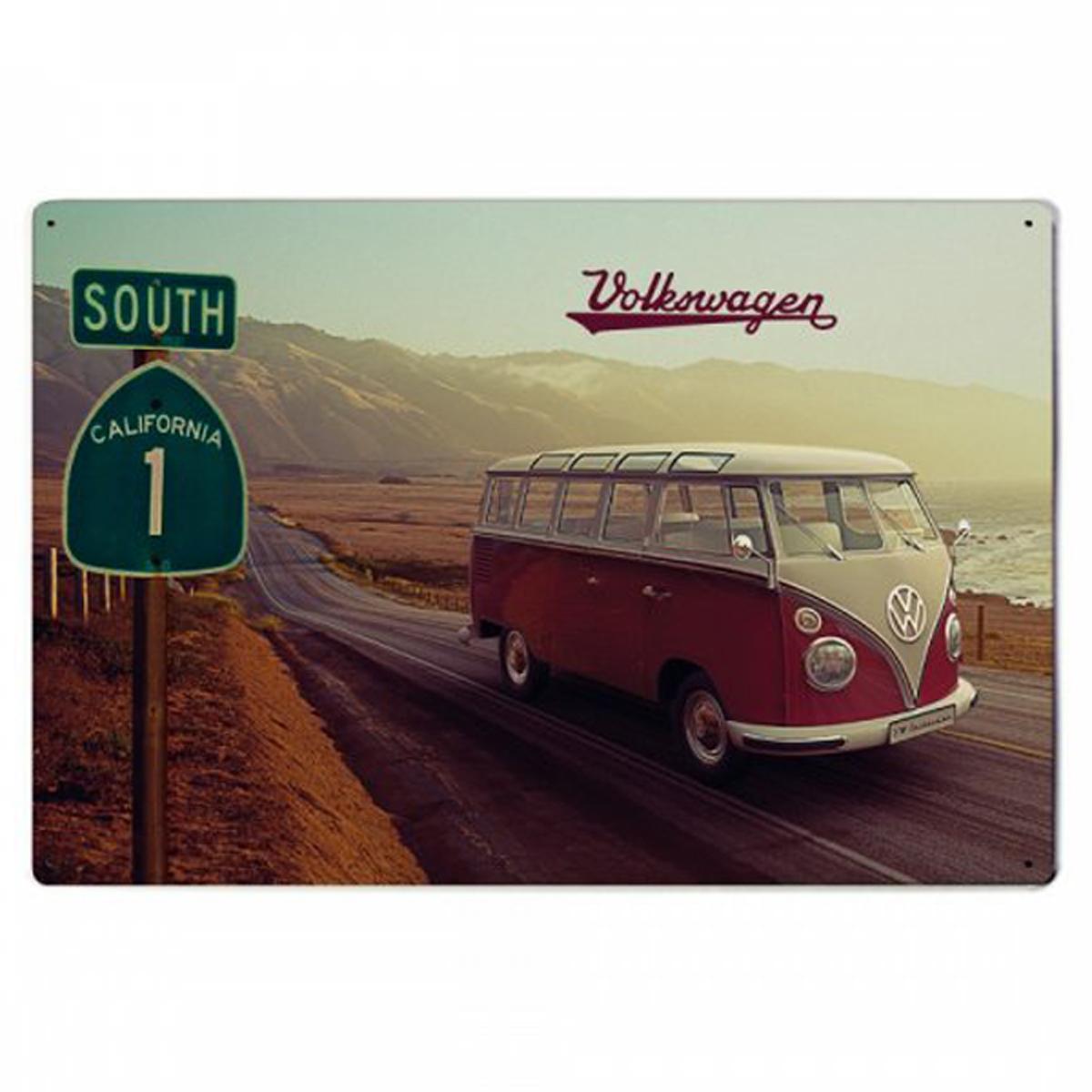 Plaque métal vintage \'Volkswagen\' marron beige vintage (highway) - 30x20 cm - [R2965]