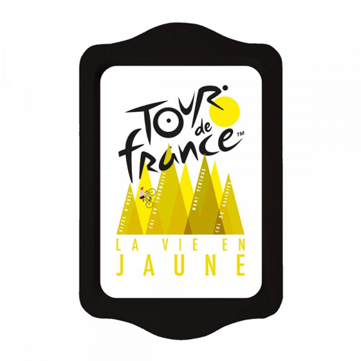 Petit plateau métal \'Tour de France\' noir jaune (la vie en jaune - montagnes) - 21x14 cm - [R2971]