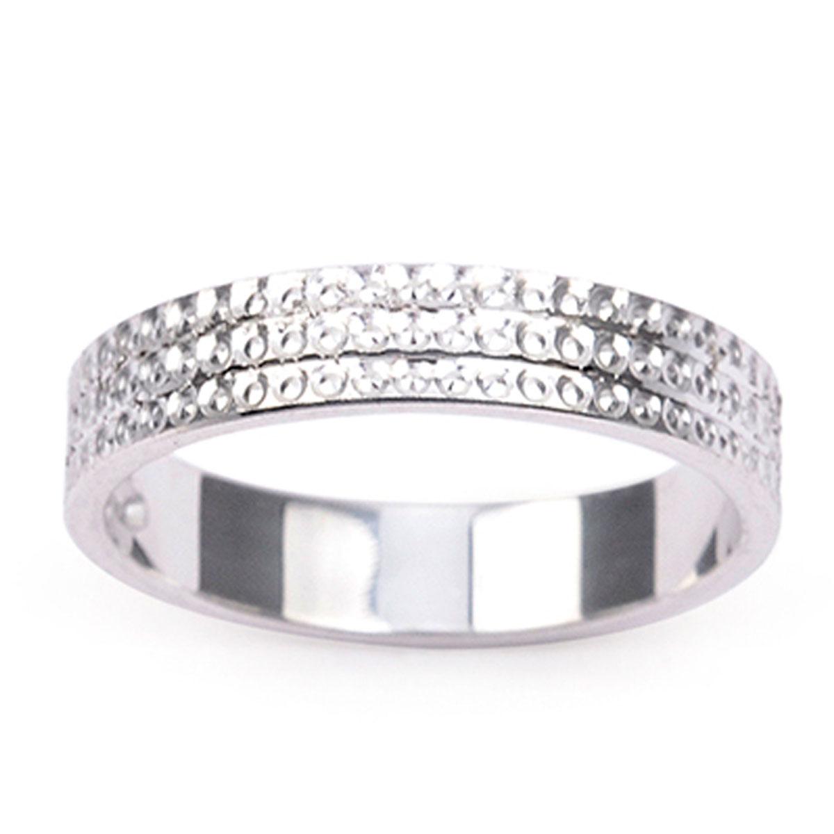Alliance Argent \'Lien d\'Amour\' argenté (rhodié) - 4 mm (diamanté) - [R5058]