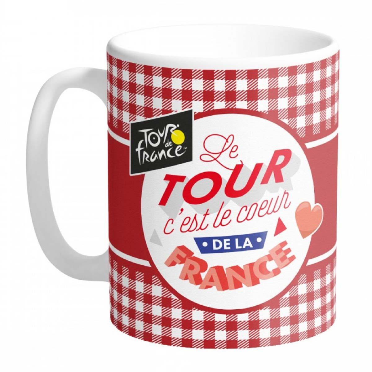 Mug céramique \'Tour de France\' carreaux rouges (c\'est le coeur de la France) - 95x80 mm - [A0857]