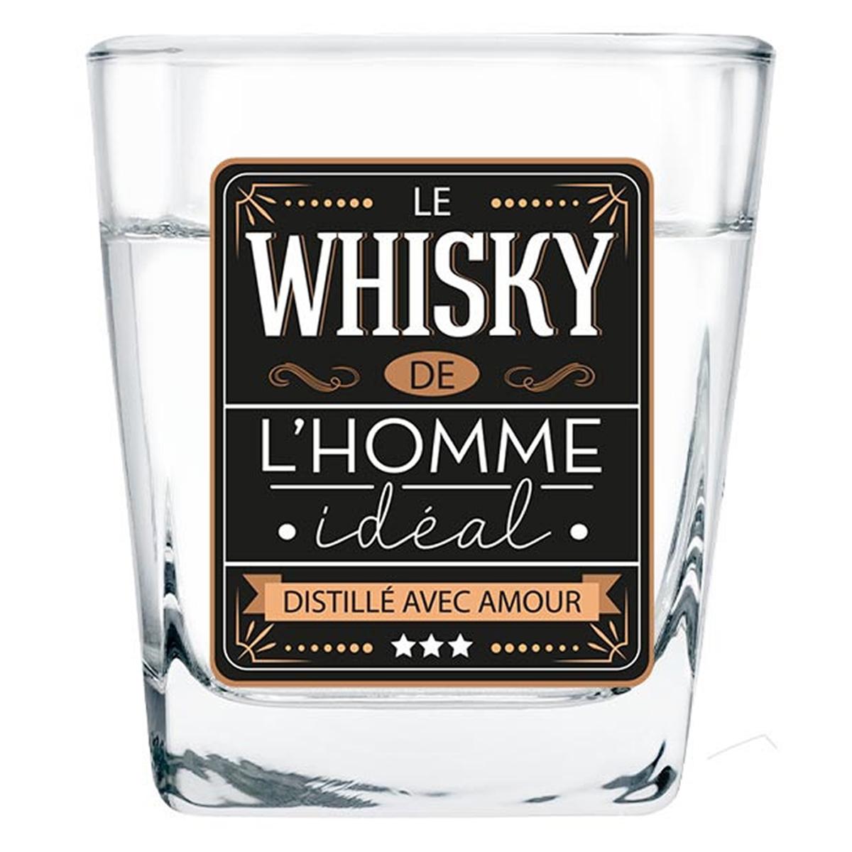 Verre à whisky \'Le Whisky de l\'Homme Idéal\' noir - 85x55 mm - [A2086]