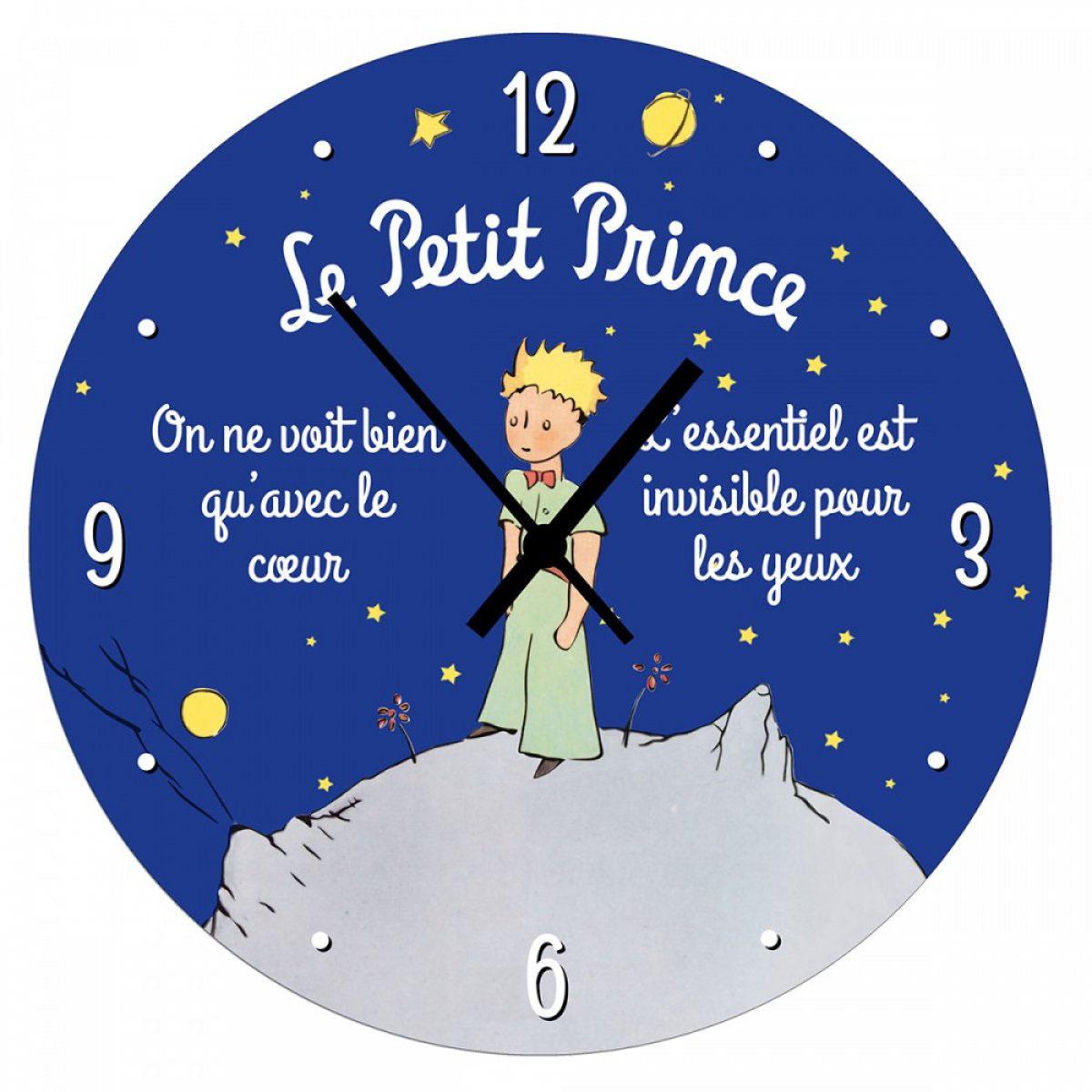 Horloge Murale bois \'Le Petit Prince\' bleu - 28 cm - [A2784]