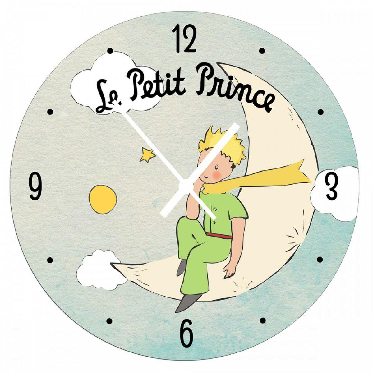 Horloge Murale bois \'Le Petit Prince\' turquoise - 28 cm - [A2786]