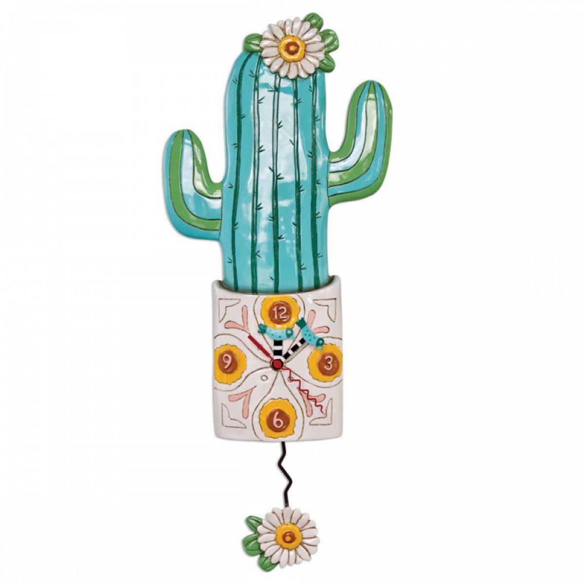 Horloge Murale \'Allen Designs\' vert beige (Cactus) - 48x20 cm - [A2789]