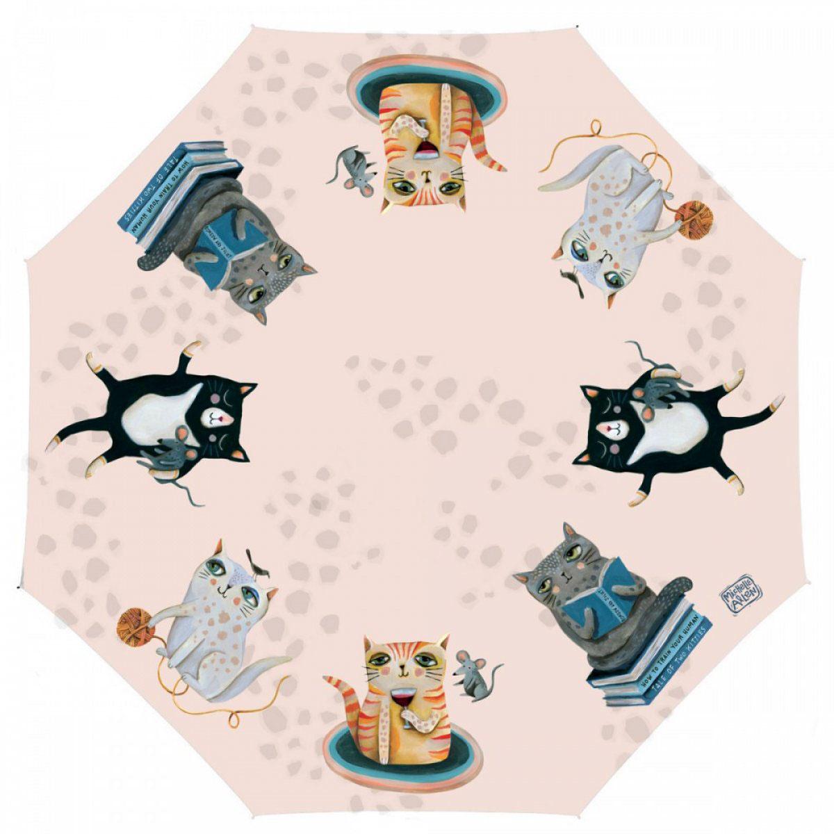 Parapluie canne \'Allen Designs\' rose multicolore (chats) - 90 cm - [A2794]