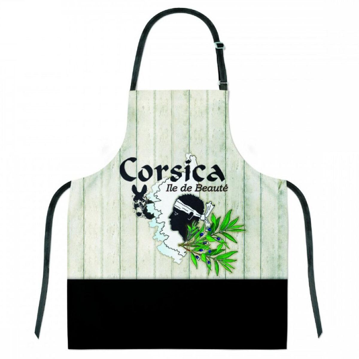 Tablier créateur coton \'Corsica\' beige noir (Ile de Beauté) - 68x78 cm - [A2799]