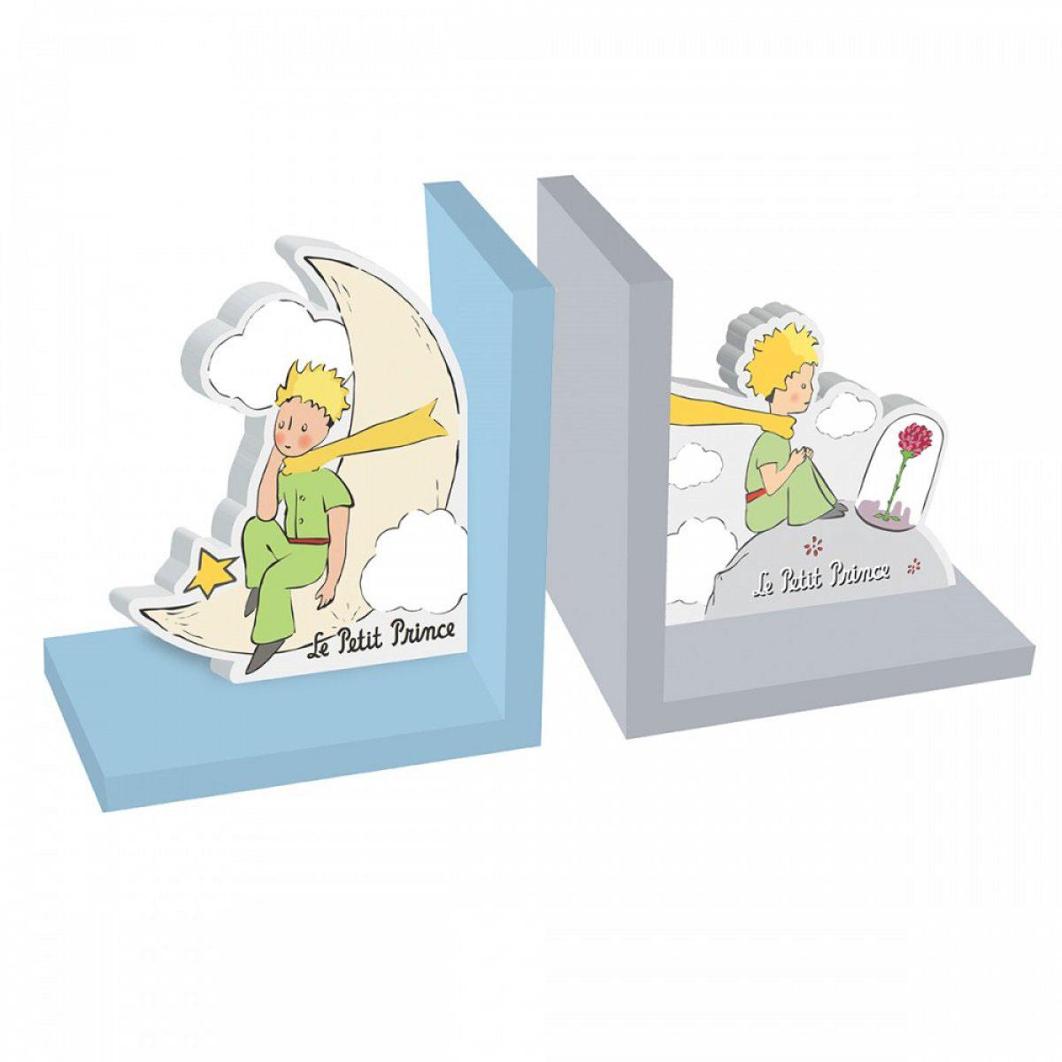 Serre-livres bois \'Le Petit Prince\' bleu gris - chacun 15x135x9 cm - [A2802]
