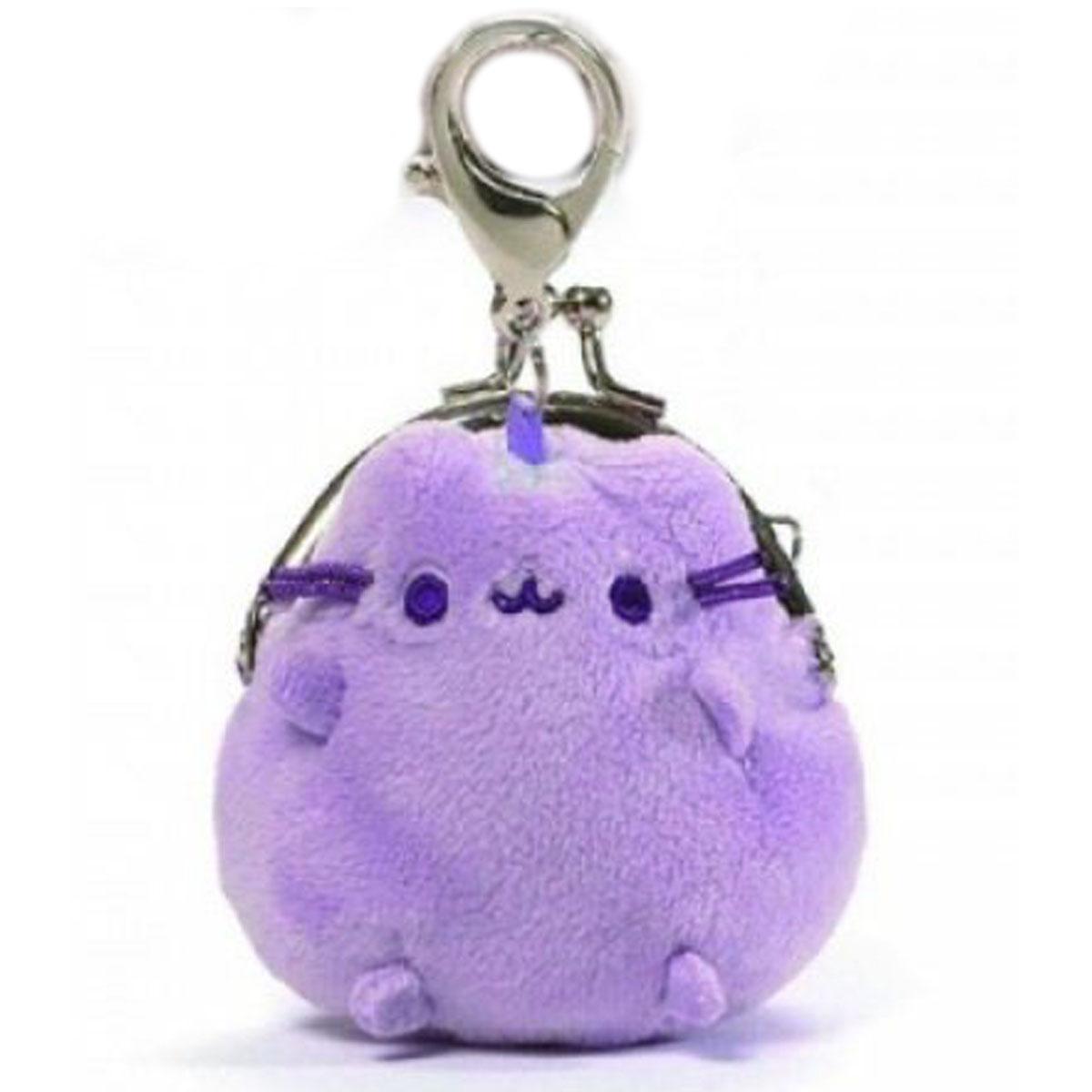 Porte-monnaie bourse peluche \'Pusheen\' violet - 75 cm (mousqueton) - [A2830]