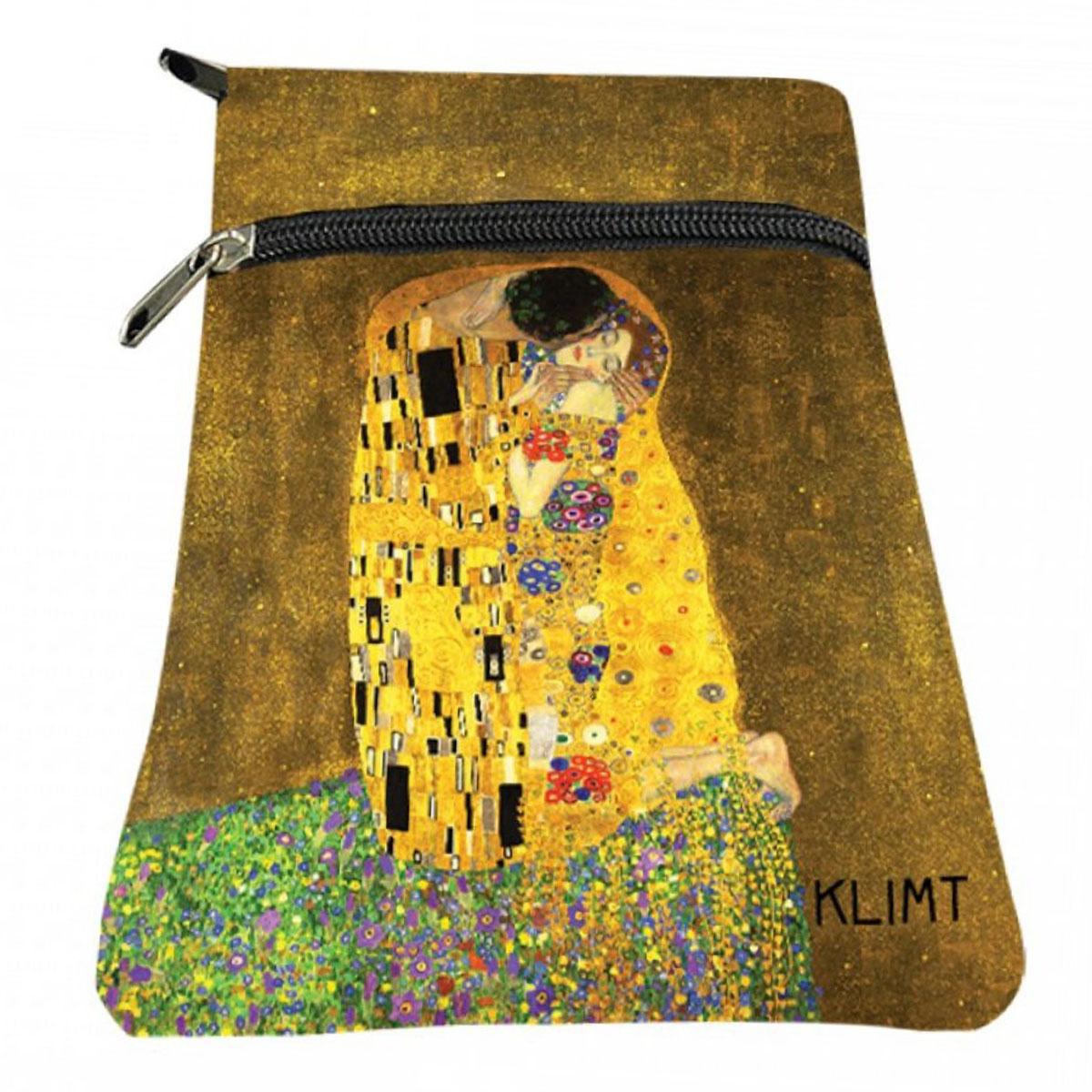 Porte papiers / passeport \'Gustav Klimt\' jaune marron (Le Baiser) - 18x13 cm - [A2835]