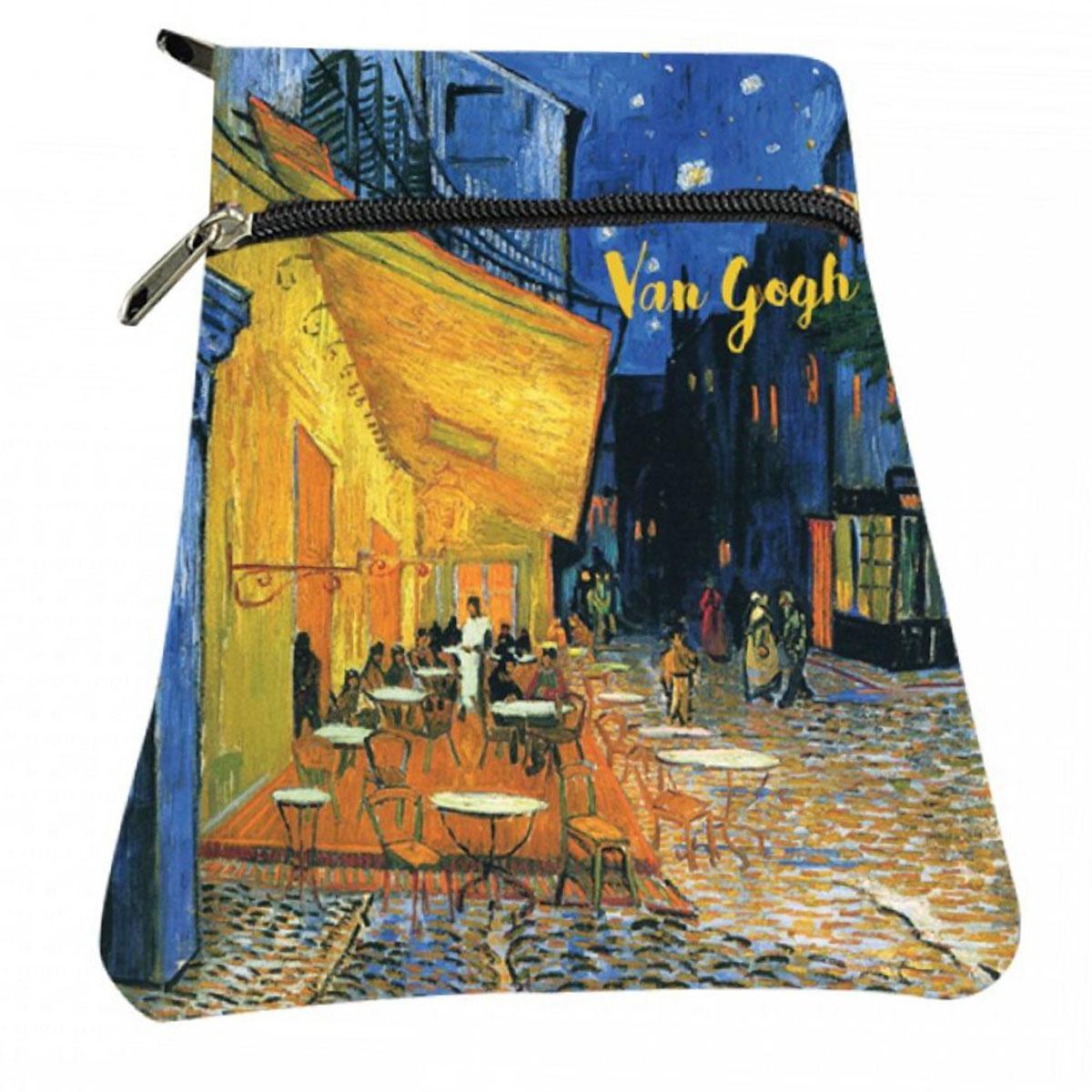 Porte papiers / passeport \'Vincent Van Gogh\' multicolore (Terrasse de café le soir) - 18x13 cm - [A2836]