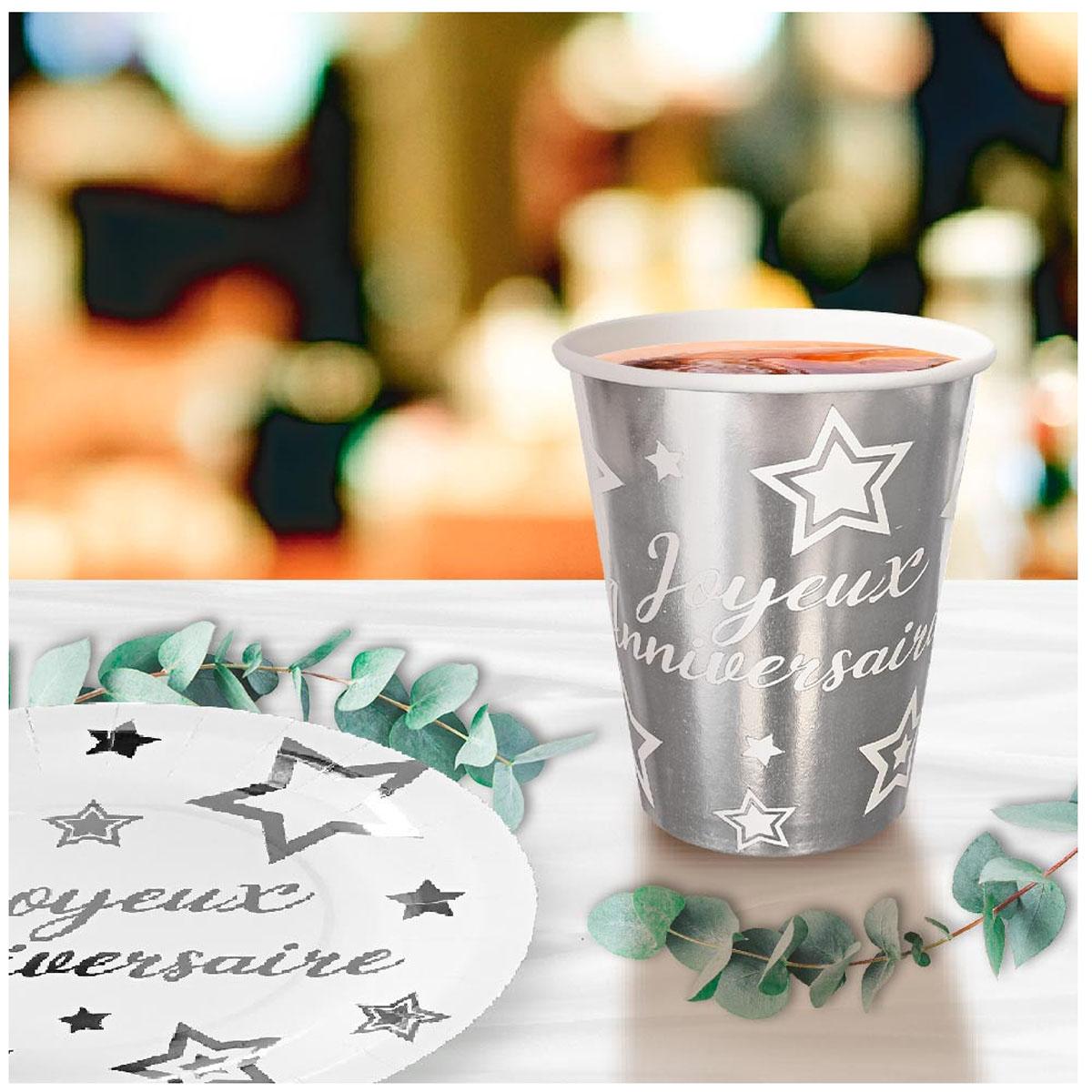 6 gobelets carton \'Joyeux Anniversaire\' argenté - 85x75 mm (25 cl) - [A2850]