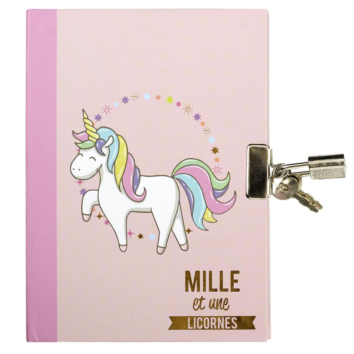 Journal Intime / carnet secret \'Licorne My Unicorn\' rose - 15x12 cm - [A2883]