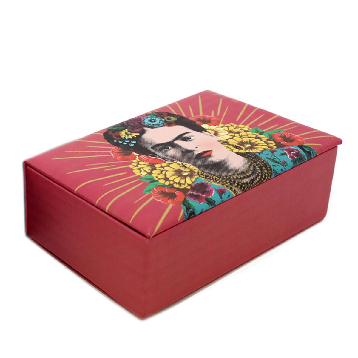 Boite à bijoux \'Frida Kahlo\' rouge - 20x13x7 cm - [A2900]