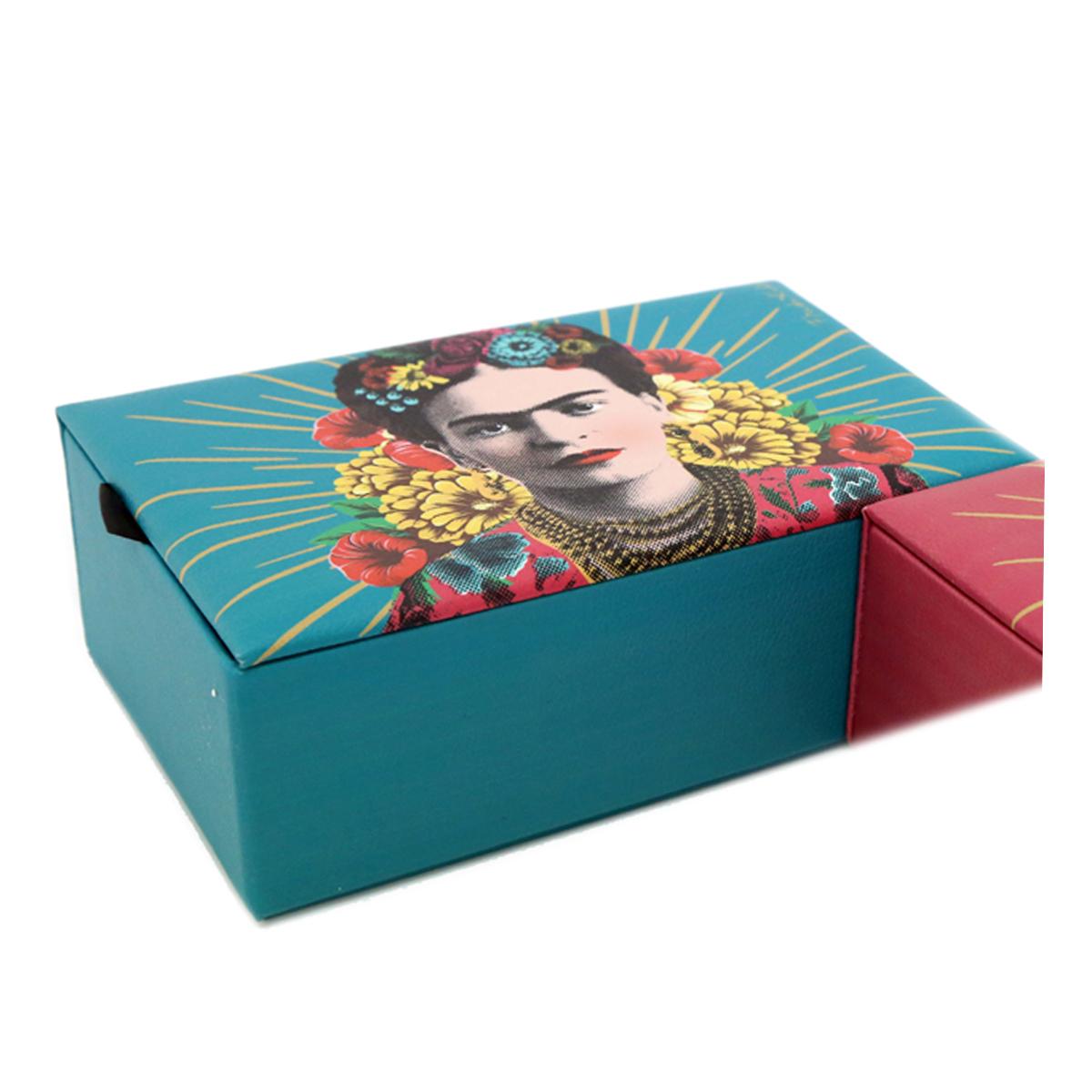 Boite à bijoux \'Frida Kahlo\' turquoise - 20x13x7 cm - [A2901]