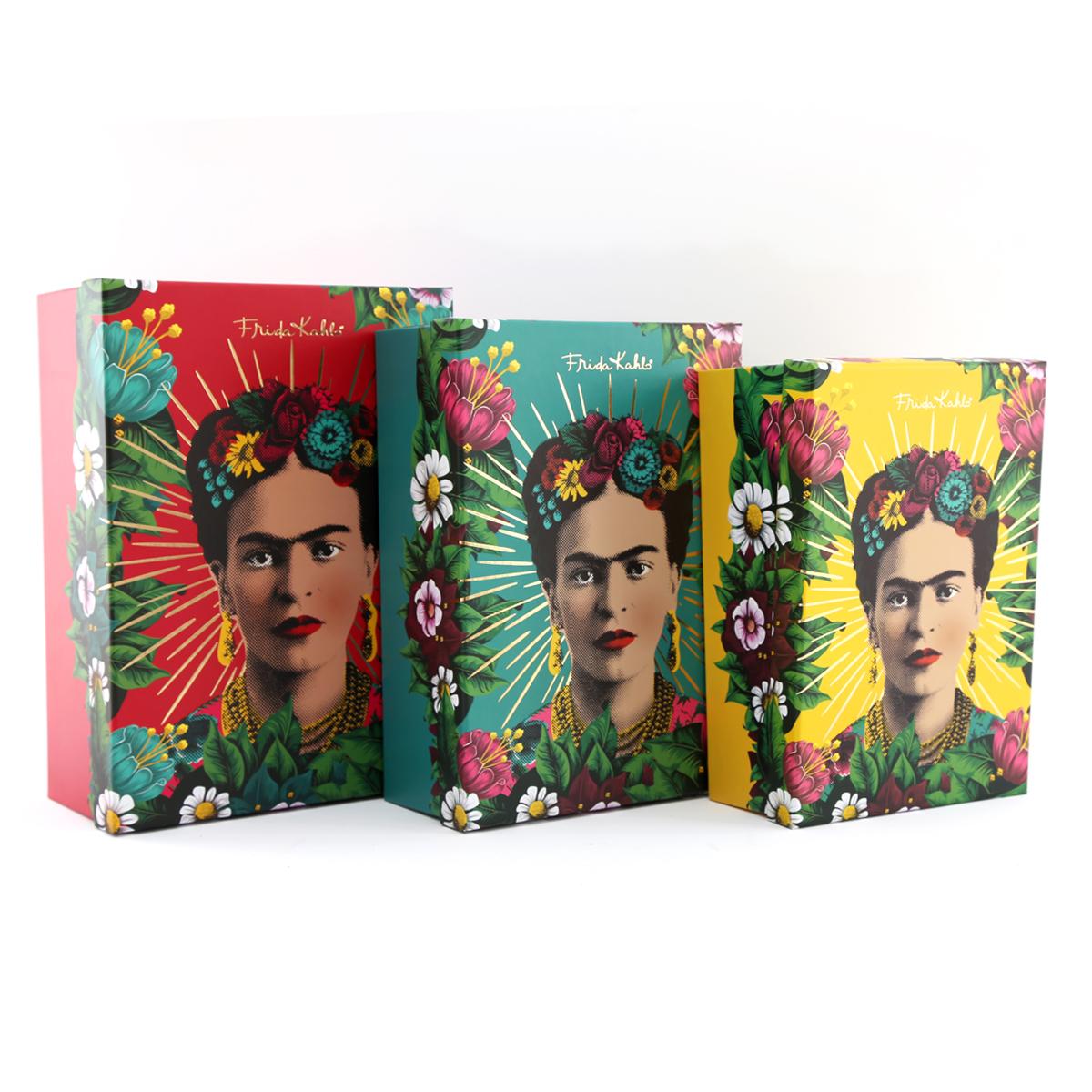 Set de 3 boîtes à Souvenirs \'Frida Kahlo\' multicolore - 30x22x11 cm - [A2902]