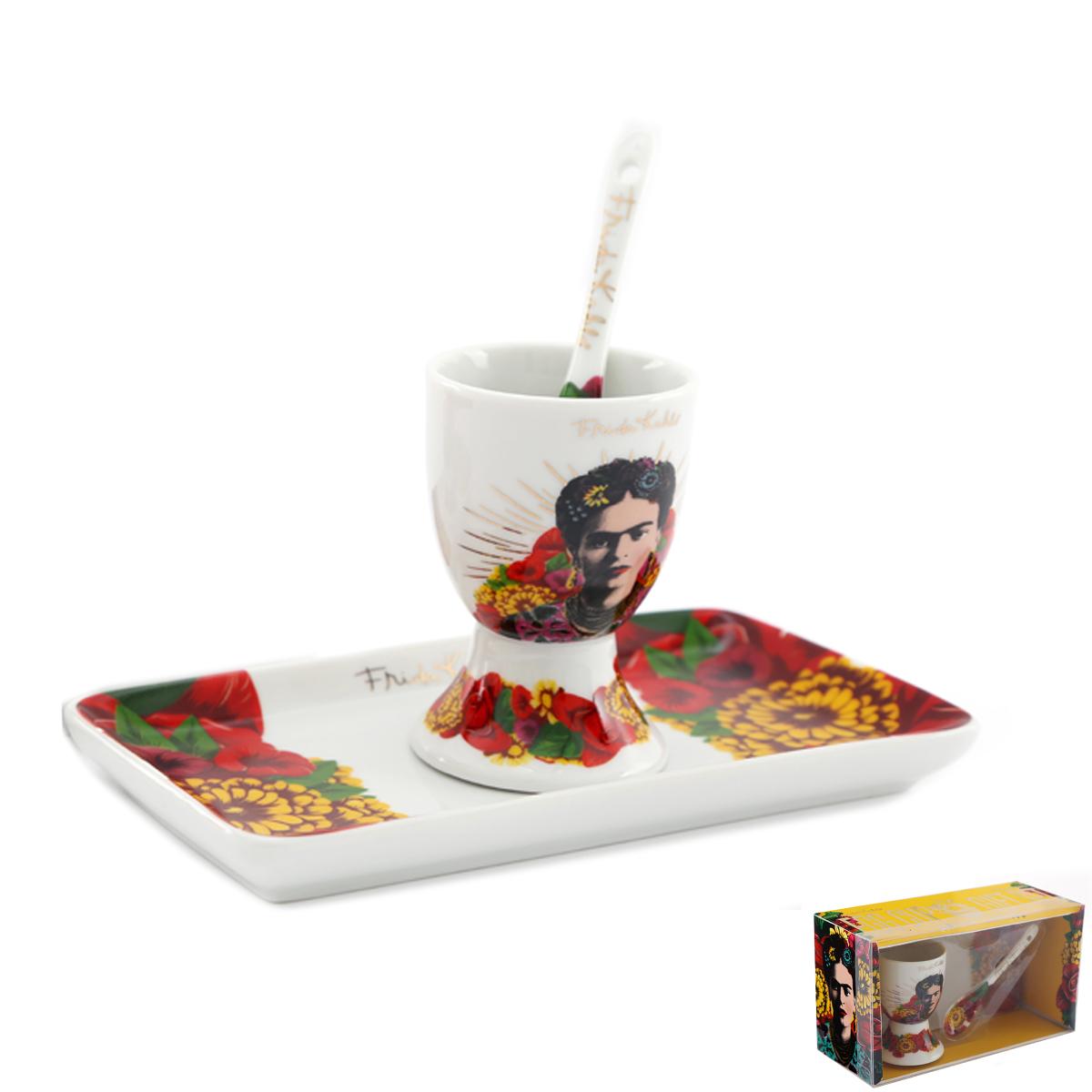 Set coquetier porcelaine \'Frida Kahlo\' multicolore - [A2904]