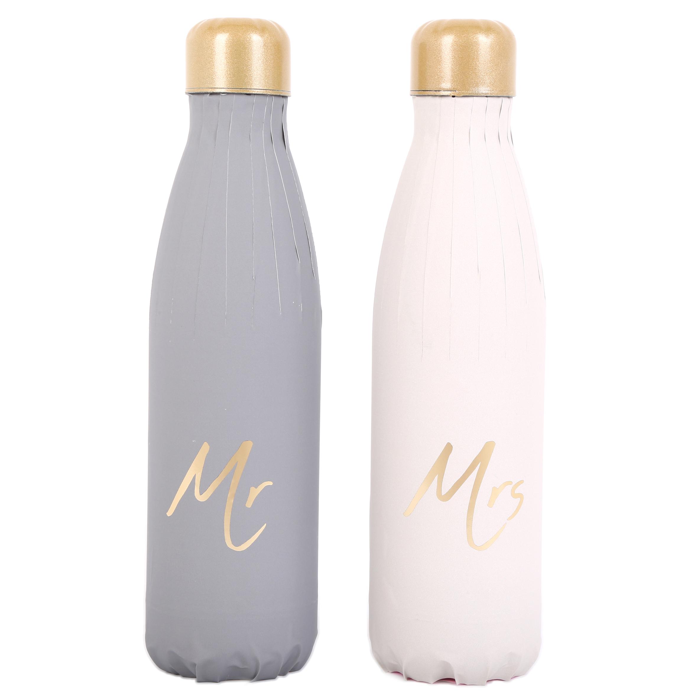 2 bouteilles isothermes design \'Mr & Mrs\' gris blanc - 25x5 cm (500 ml) - [A2905]